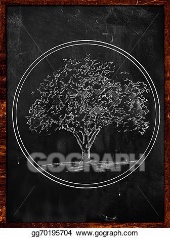 Blackboard clipart modern. Stock illustration tree logo
