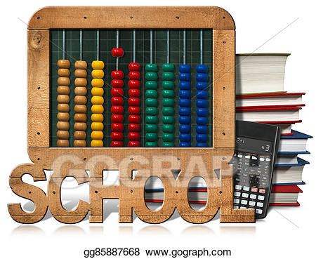 Drawing abacus books calculator. Blackboard clipart modern