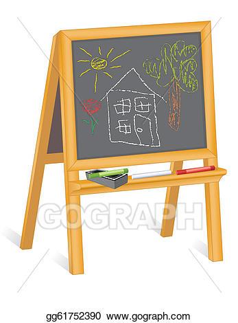 Eps illustration childs drawings. Blackboard clipart nursery school
