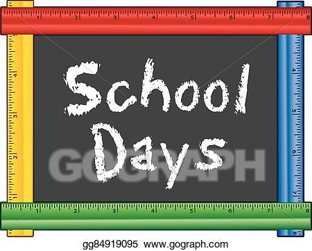 Blackboard clipart nursery school. Eps illustration days ruler