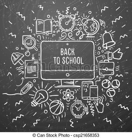 Blackboard clipart nursery school. Vector freehand chalk drawing