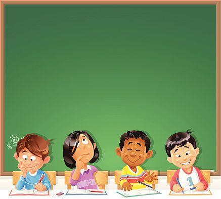 Chalkboard clipart kindergarten. Kids in front of