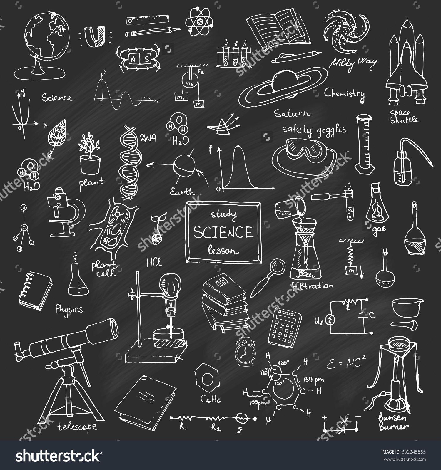 Blackboard clipart science. Freehand drawing school items