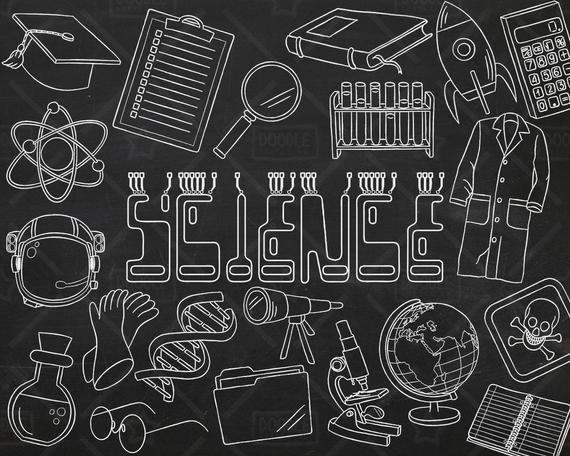 Chalkboard vector pack doodles. Blackboard clipart science