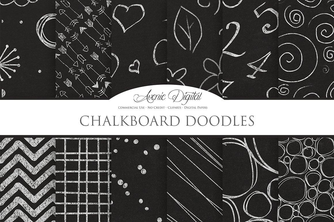 Chalkboard digital paper textures. Blackboard clipart science