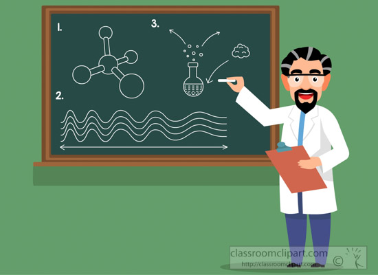 Blackboard clipart science. Illustration of professor teaching