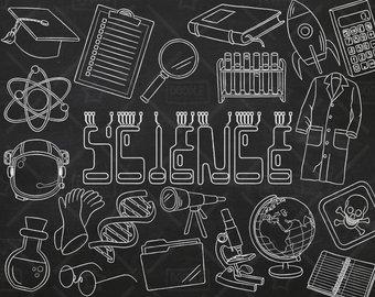 Chalkboard etsy vector pack. Blackboard clipart science