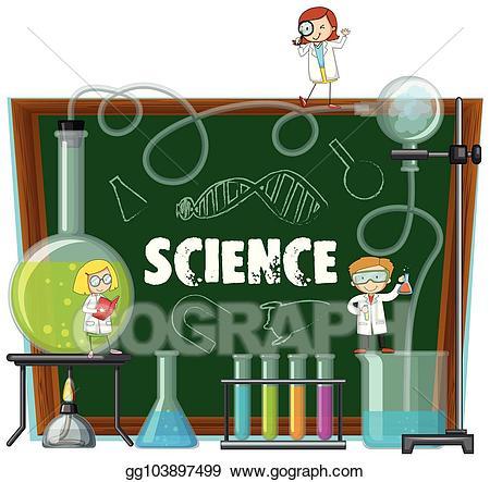 Eps vector lab equipments. Blackboard clipart science