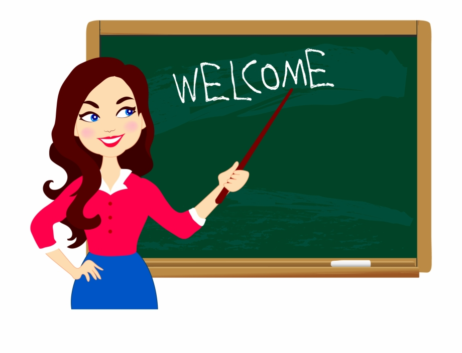 Education welcome with teacher. Blackboard clipart student