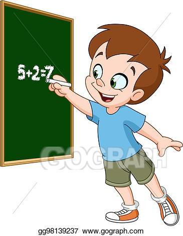 Blackboard clipart student. Vector art boy writing
