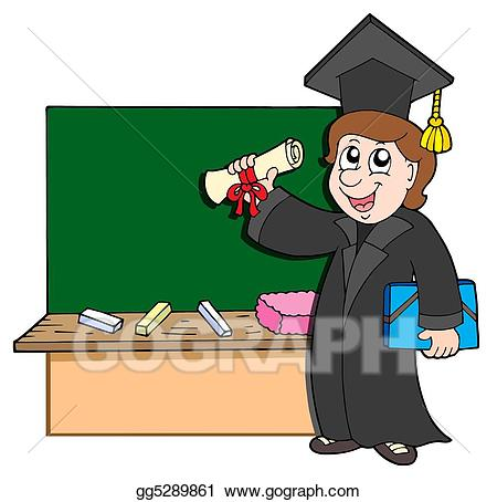 Drawing graduate with. Blackboard clipart student