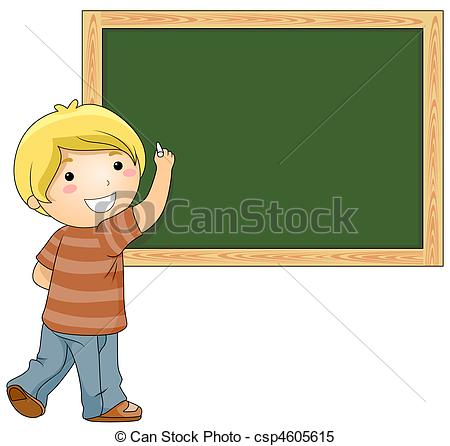 Pencil and in color. Blackboard clipart student