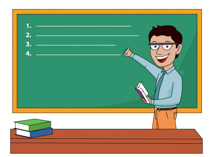 Blackboard Drawing Cartoon - Blackboard With Teacher Clipart, HD Png  Download - kindpng