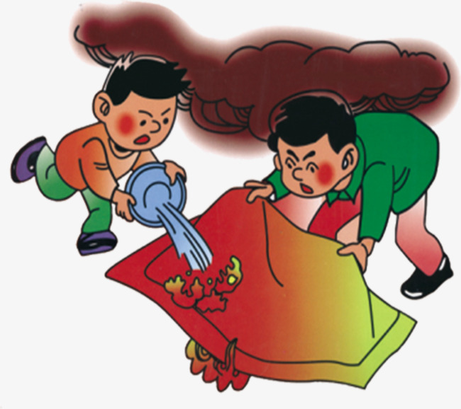 Fire blankets watering extinguish. Blanket clipart animated