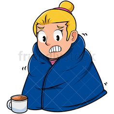 Man staying warm with. Blanket clipart animated