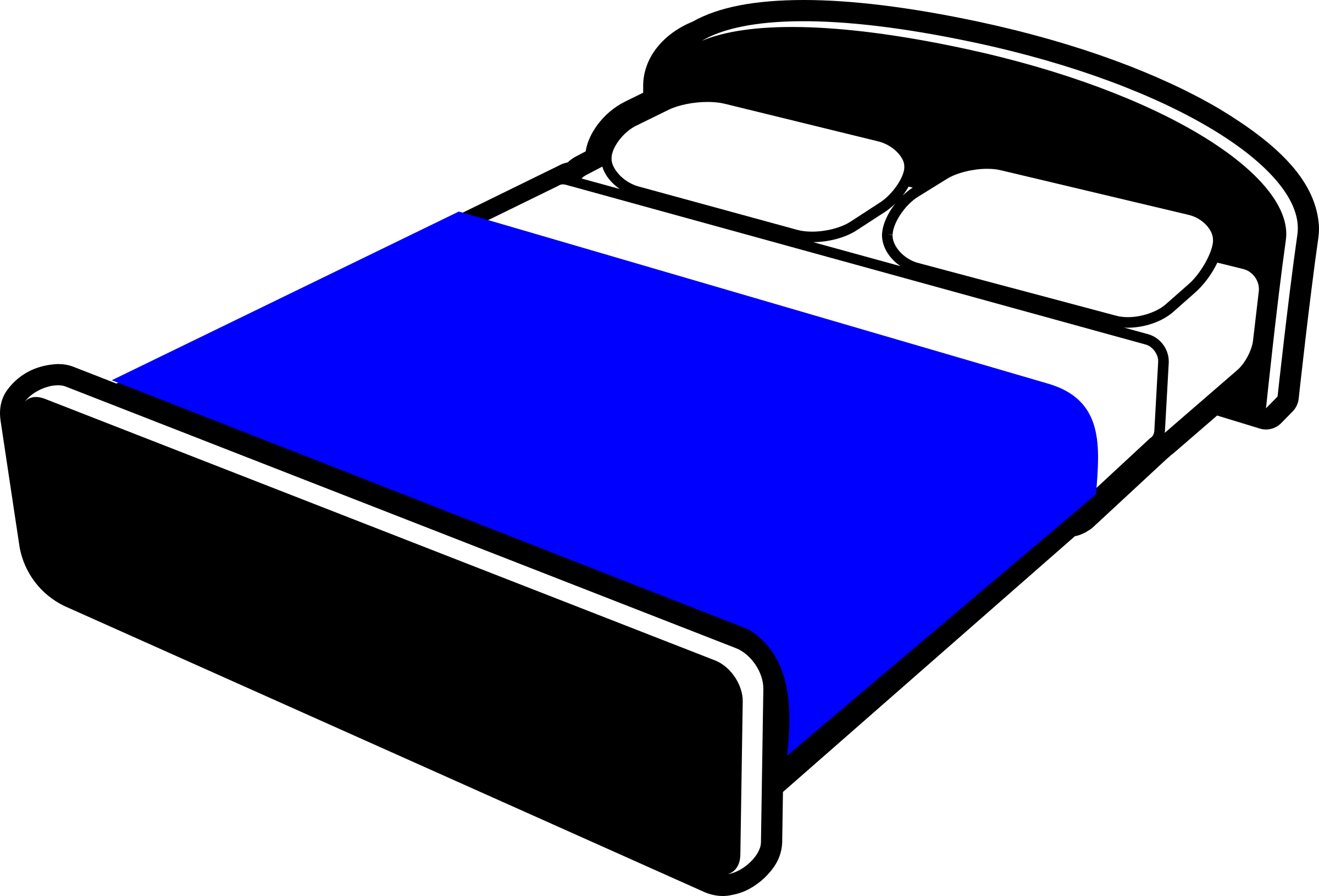 Blanket clipart icon. Bed with blue icons