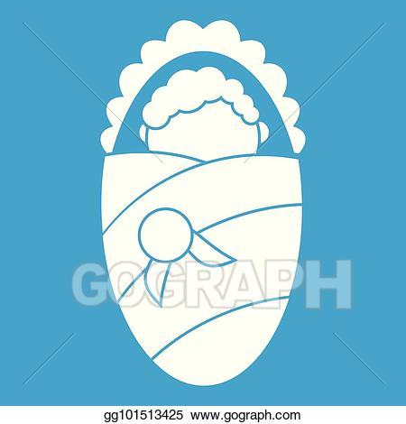 Blanket clipart icon. Eps illustration newborn wrapped