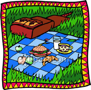 In the grass with. Blanket clipart picnic mat