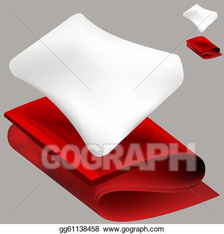 Blanket clipart red blanket. Vector art soft pillow