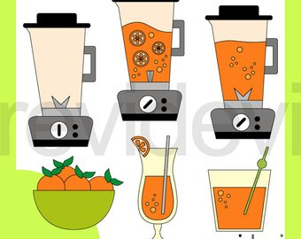 Blender clipart fruit smoothie. Etsy making orange juice