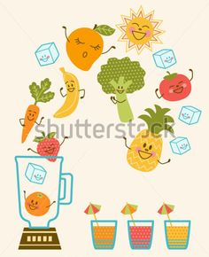 Making fruit smoothie vector. Blender clipart happy