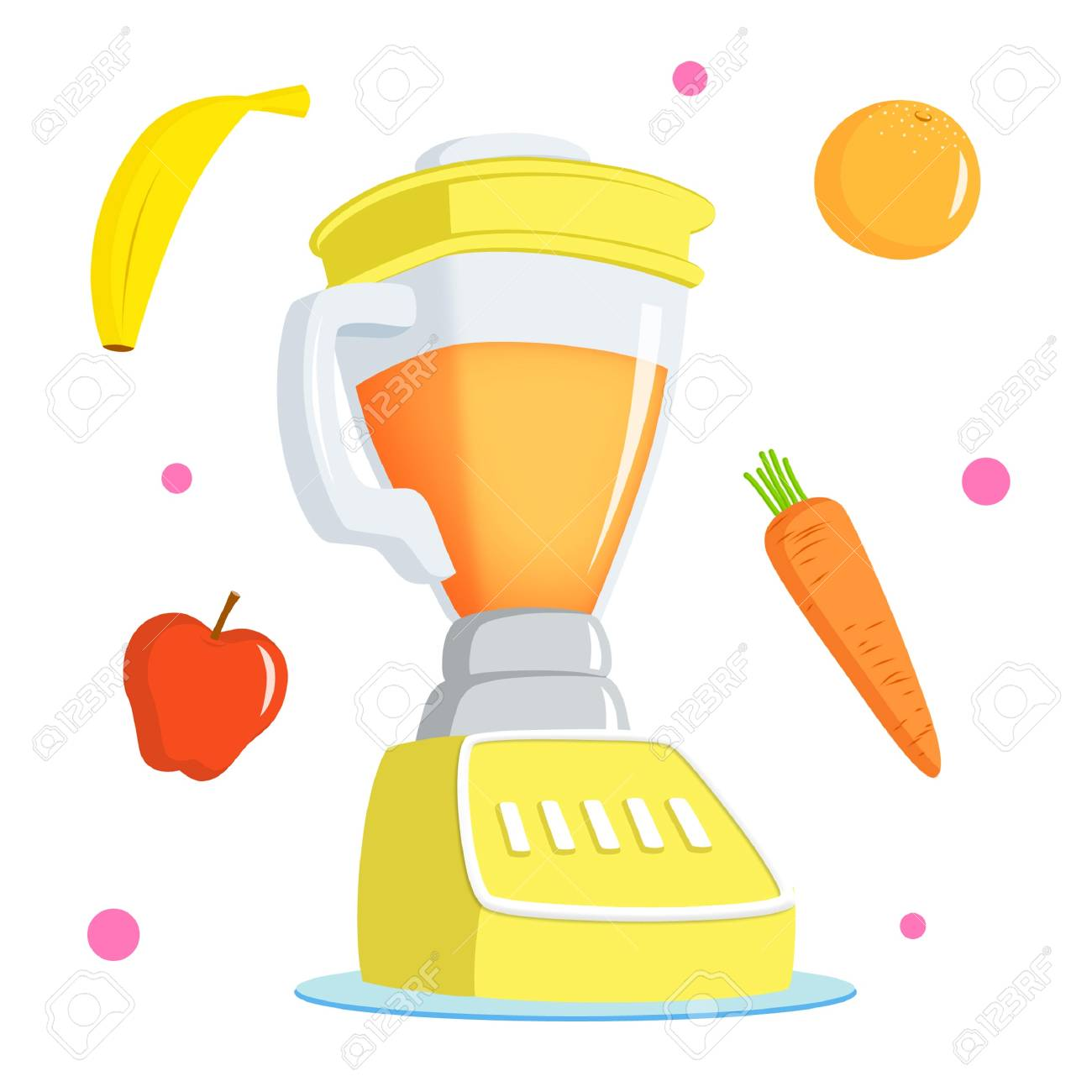Cute juice with banana. Blender clipart happy