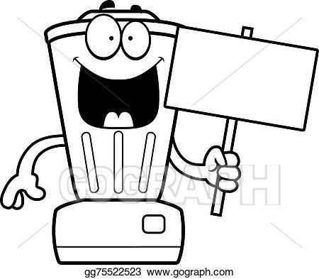 Vector stock cartoon sign. Blender clipart happy