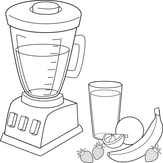 Fruit smoothies coloring page. Blender clipart healthy smoothie