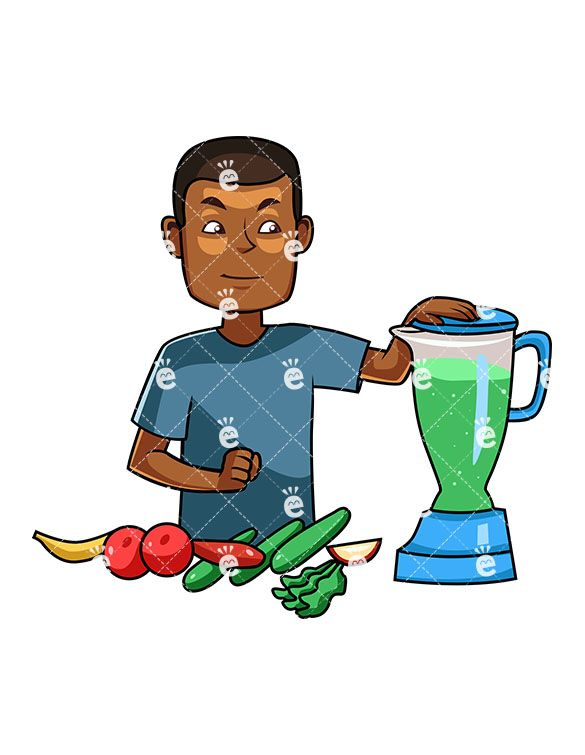 A black man making. Blender clipart healthy smoothie