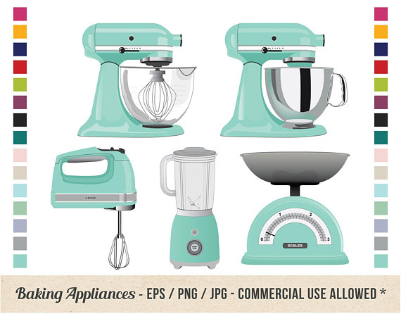 Retro Kitchen Baking Clipart Kitchen Appliances Stand