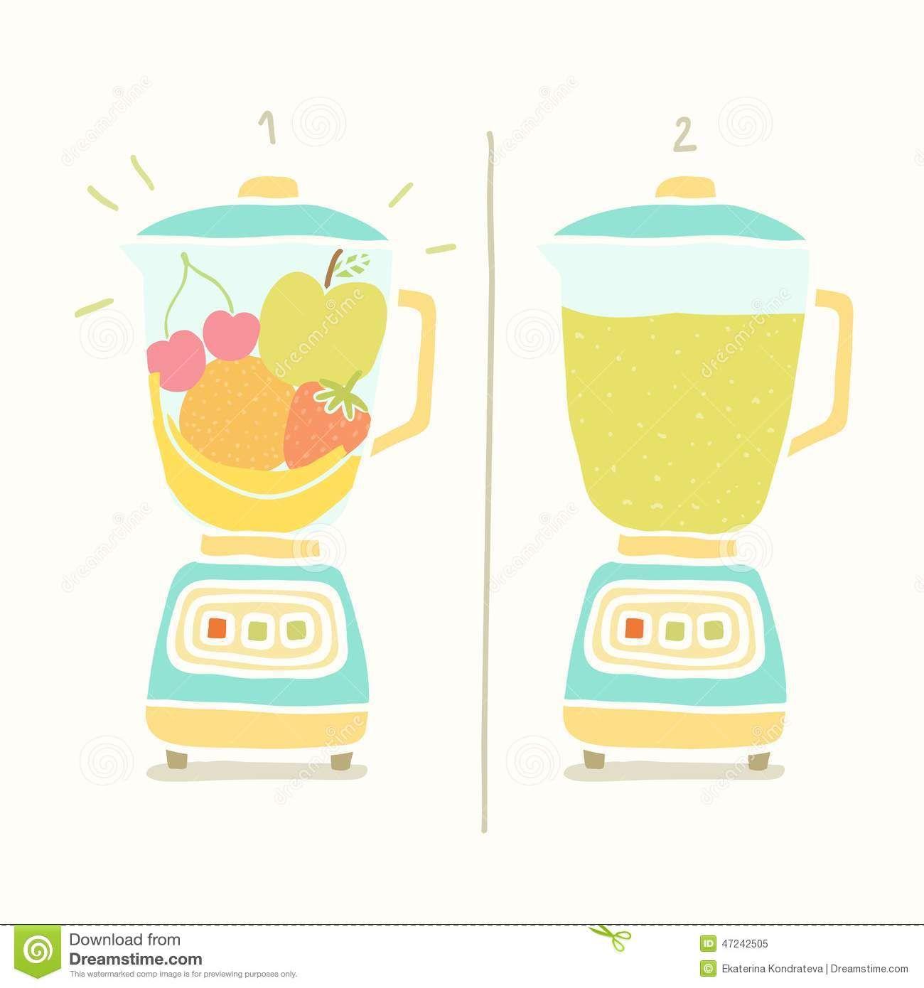 Blender clipart milkshake. Making fruit smoothie vector