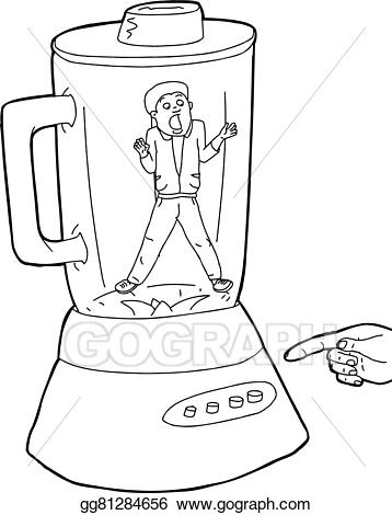 Vector person stuck in. Blender clipart outline