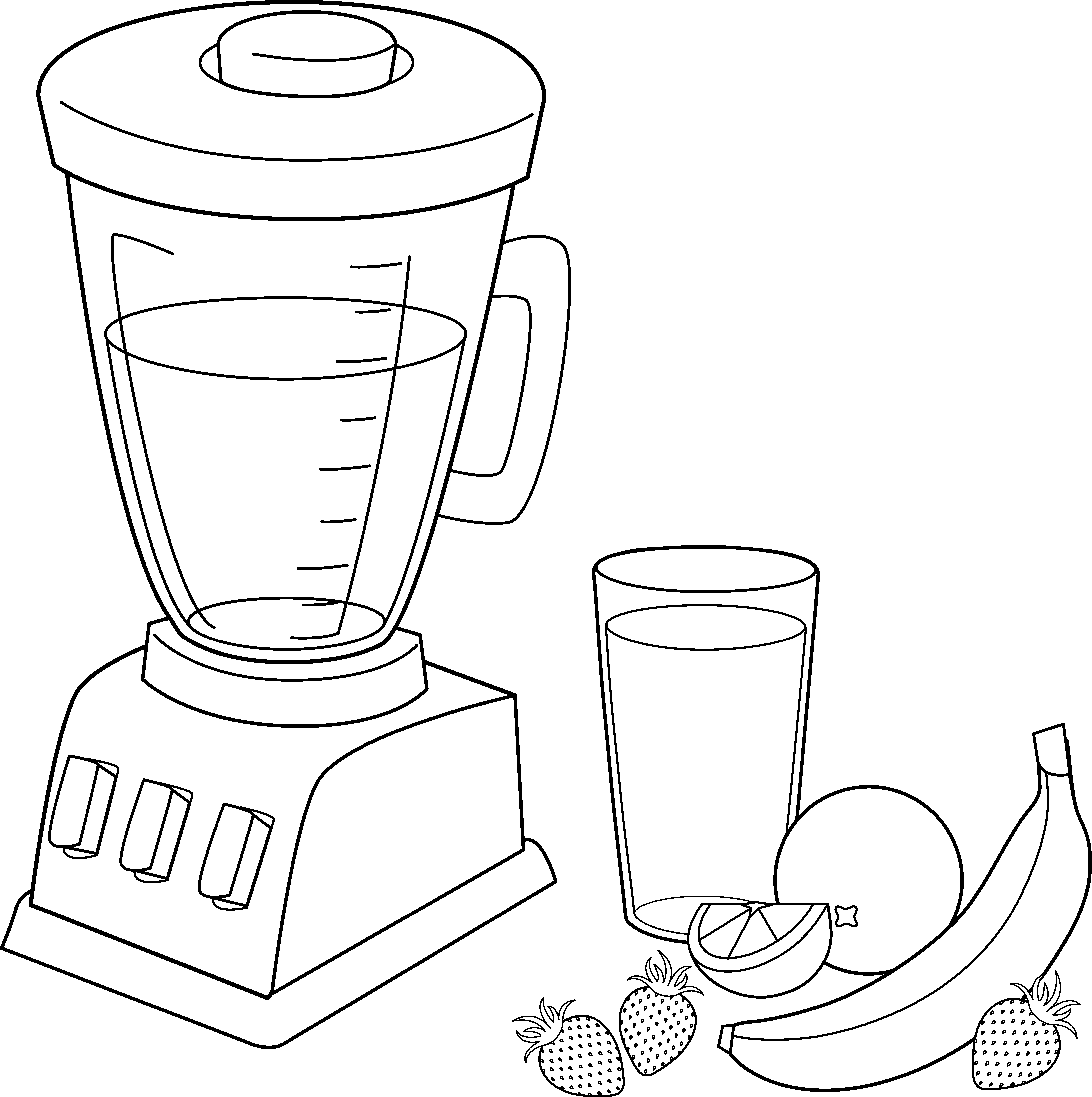Unique fruit coloring pages. Blender clipart smoothie maker
