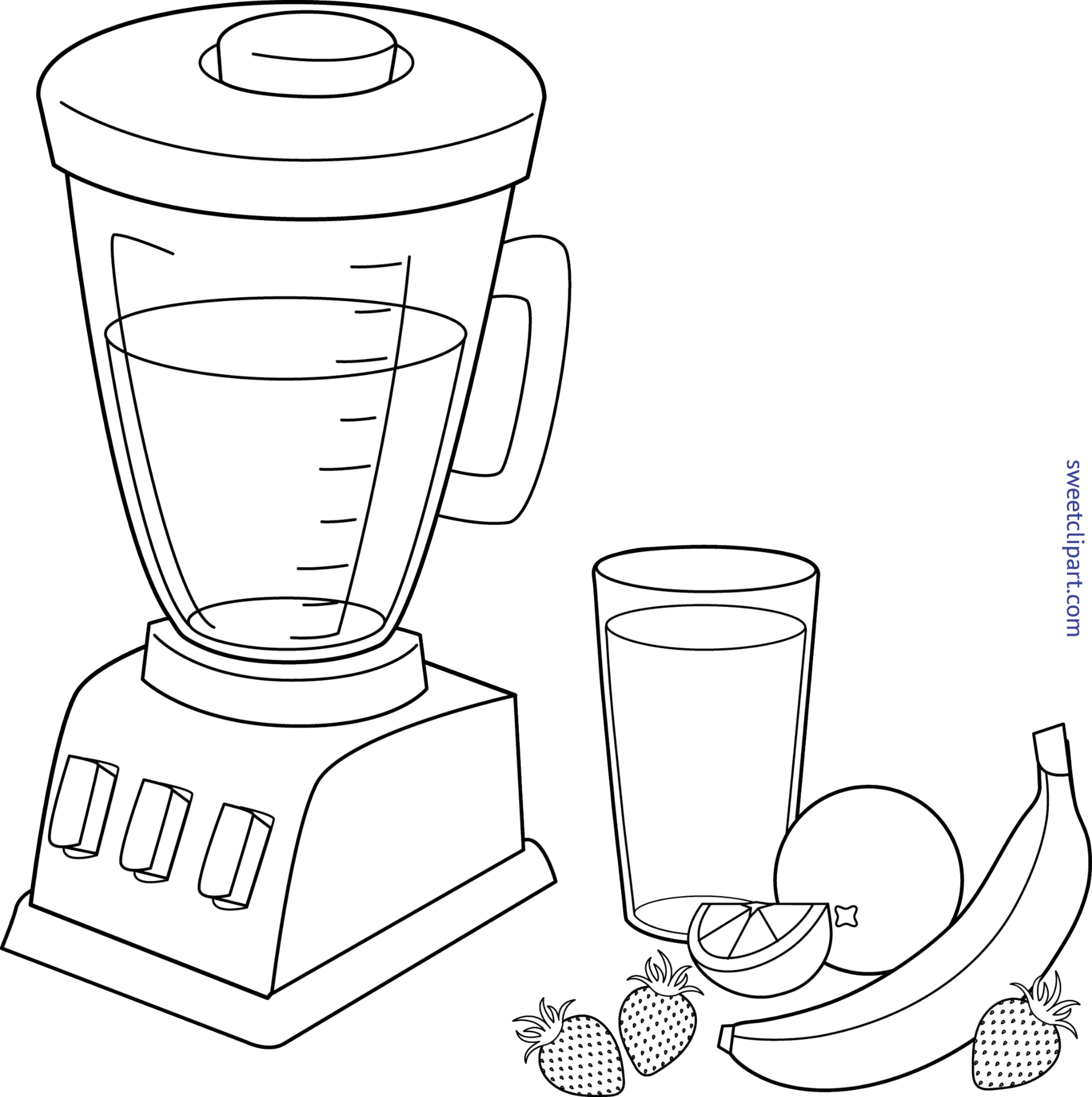 Blender clipart smoothy. Fruit smoothie colorable clip