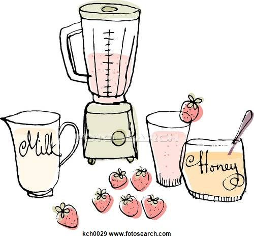 A blender and ingredients to make a strawberry smoothie Stock