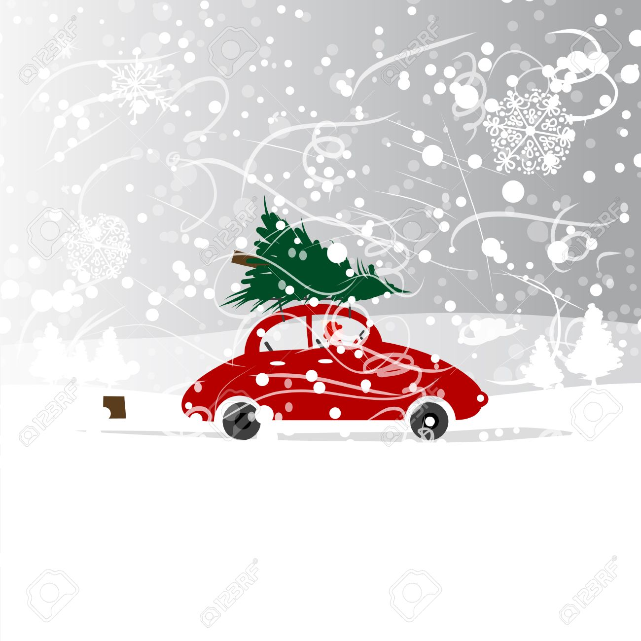 Blizzard clipart car. With christmas tree winter