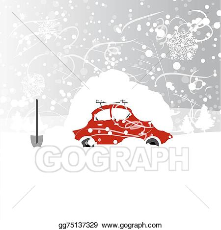 Vector illustration with snowbank. Blizzard clipart car