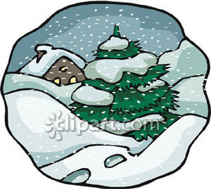 Snowy scene of a. Blizzard clipart cartoon