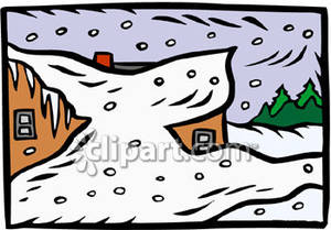 Blizzard clipart cartoon. House buried in snow