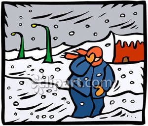 Man walking in a. Blizzard clipart cartoon