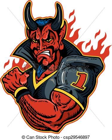 Blizzard clipart icon. Vector devil football player