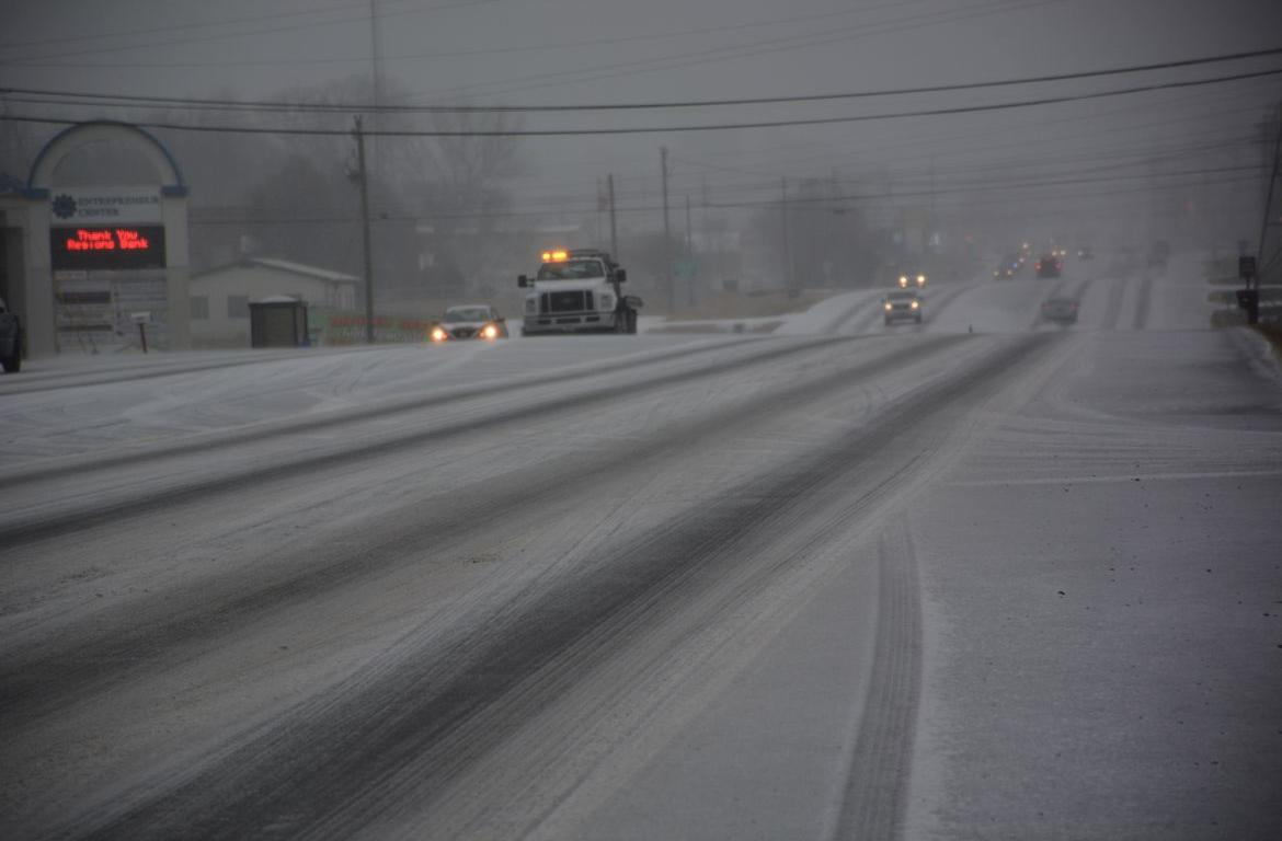 Several clarksville roads reopened. Blizzard clipart icy road