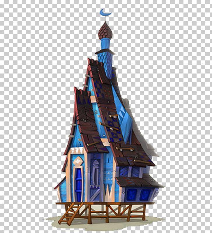 Concept art house architecture. Blizzard clipart illustration