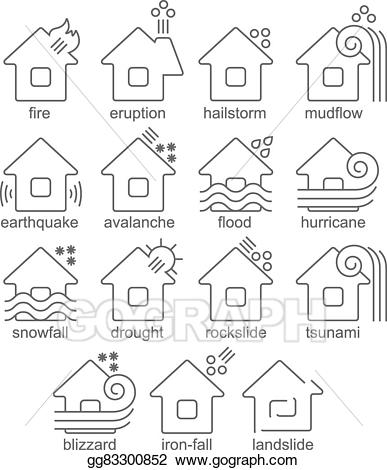 Eps vector natural disaster. Blizzard clipart line