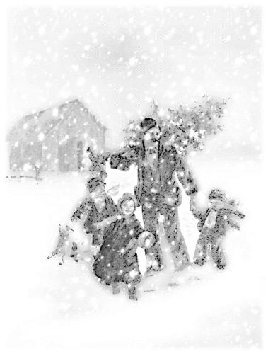 Blizzard clipart scene. Free christmas scenes public