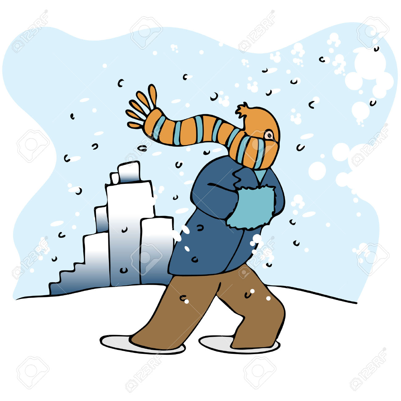 Walking in . Blizzard clipart snow day