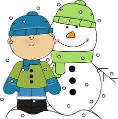 Little boys with snowman. Blizzard clipart snow day