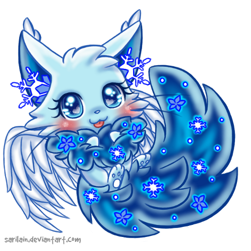 Adoptable dreamkit by sarilain. Blizzard clipart snow flower