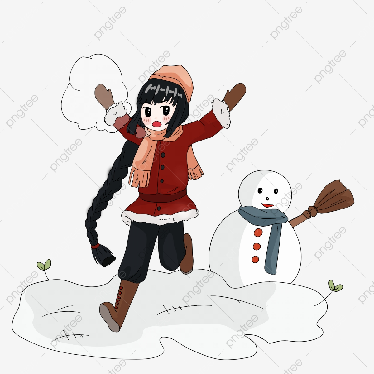 Make a snowman broom. Blizzard clipart snow sport