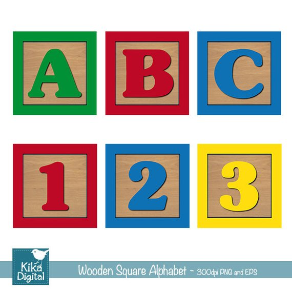 Block clipart alphabet. Baby blocks and numbers